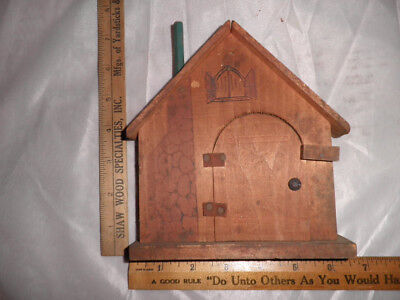 "Antique Wooden Outdoor Porch Note Holder with Leather ""Hinges"""