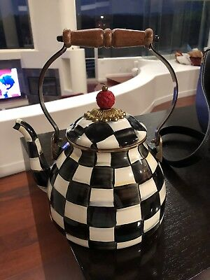 MacKenzie-Childs Courtly Check Tea Kettle — Excellent Condition