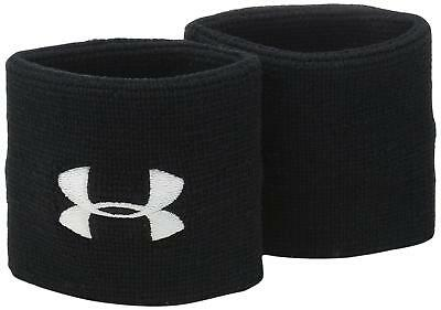 """Under Armour Men's 3"""" Performance Wristbands, Black (001)/White, One Size"""