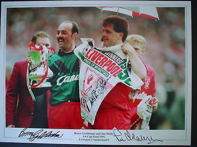 BRUCE GROBBELAAR & JAN MOLBY Signed 16x12 Photo LIVERPOOL COA