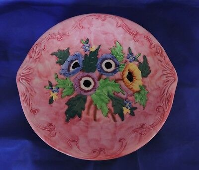 Vintage Maling Dish - Hand Painted Anemone Embossed Pattern No 6534 - C1930's