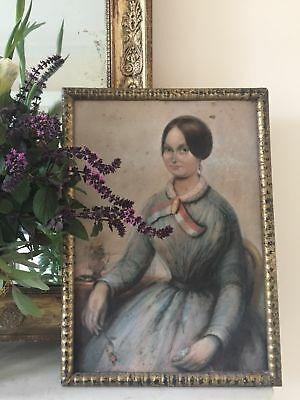 Antique 19th century French watercolour Portrait of a beautiful young woman