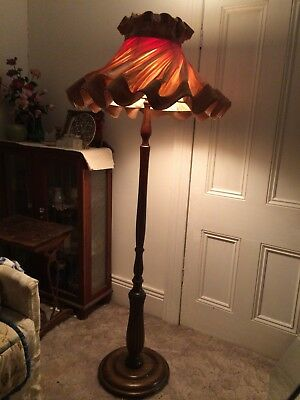 Antique Vintage Timber Base Standard Lamp With Shade
