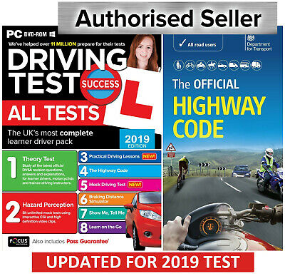 2019 Driving Theory Test & Hazard CD DVD + Official Highway Code Book..L atpcHw