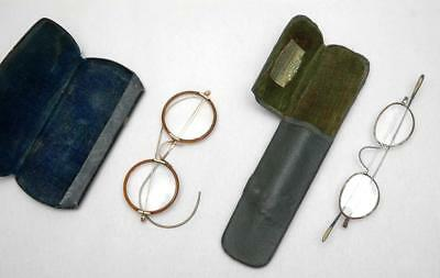 Two sets of Antique Australian Spectacles in Cases. Vintage Prescription Glasses