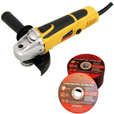 """Angle Grinder Kit with 5 x 115mm 4.5"""" Flat Metal Cutting Discs 850w"""