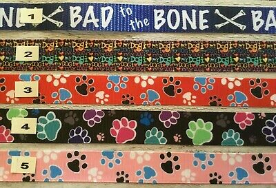 Paw Prints designs - Bad to the Bone Ribbon great for pet collars Sold by 2m