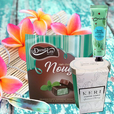 Scented Candle & Darrell Lea Chocolate Nougat - Food Gift Hamper for Business