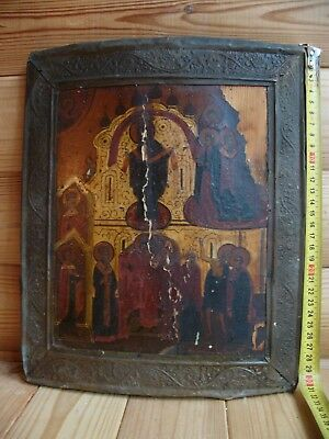 "Antique 18c Russian Orthodox Hand Painted Wood Icon ""Protection of the Virgin"""