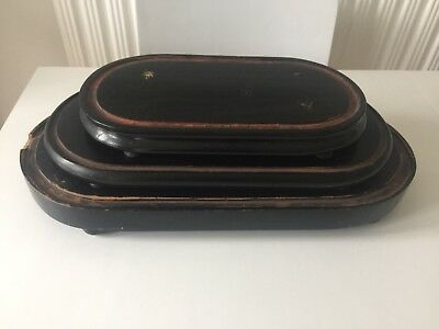 Job Lot Of 3 Wooden Bases For Glass Dome Clocks
