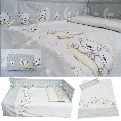 Grey Koala Bears Nursery Baby Cot/ Cot bed/ Toddler Bed Bedding Set Curtains