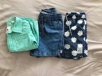 Country Road Boys Bundle: Check Shirt, Boardies & Denim Shorts Size 18-24 Months