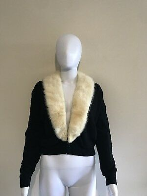 Vintage 50s Cashmere Cardigan With Mink Collar L Pinup
