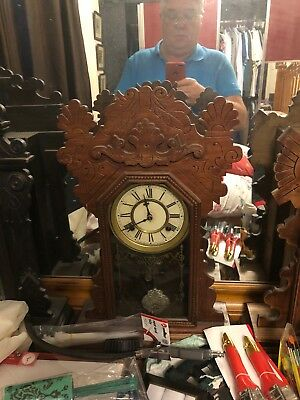 ANSONIA Brown 8 Day 'Kirkwood' Wooden Large Chiming Mantle Clock Vintage 21000