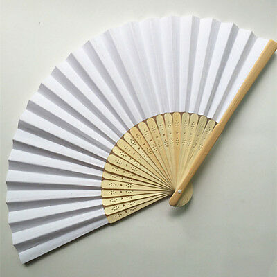 x50 Hand Held Folding White Fabric & Bamboo Hand Fans (BEST VALUE)