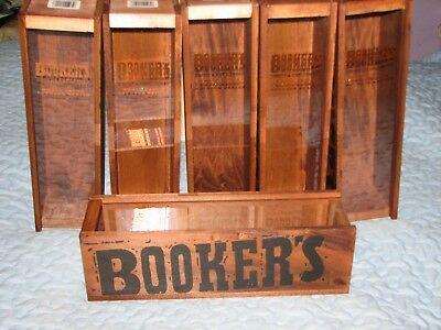 6 BOOKERS Wooden Bottle Box Uncut & Unfiltered Small Batch Bourbon Series ~ NICE