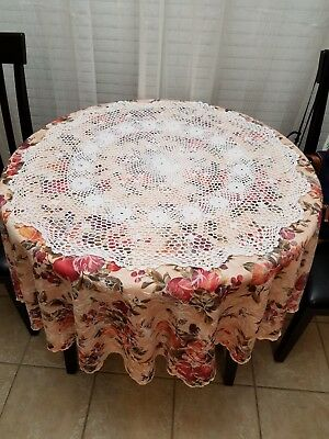 Hand Crocheted Doily/Small Tablecloth