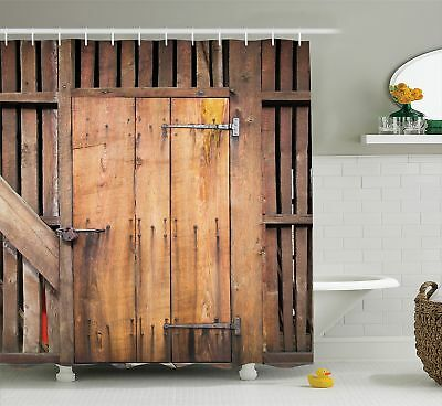 Ambesonne Wooden Barn Door Shower Curtain by, Rustic Decor Rural Vertical Barns