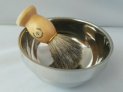 For Dad Stainless Steel Shave Bowl & Pure Badger Shave Brush Set for Wet Shaving