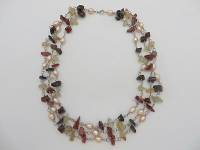 Beautiful 3 Strand Agate Bead And Pink Pearl Silver Necklace Jewellery