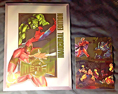 1995 Fleer **marvel Metal** Dealer Folder & 4-Card Promo Sheet **ultra Rare**