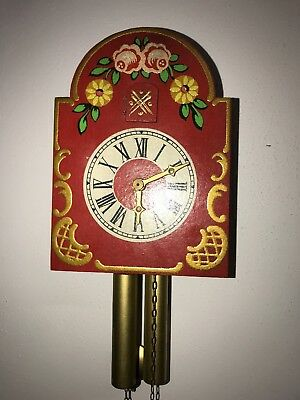 Vintage Red Hand Painted Cuckoo Clock Wall Clock RARE VERY COOL