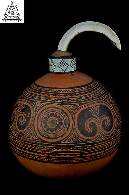 Very Rare Fine Vintage Massim Gourd Lime Containers, PNG, Papua New Guinea