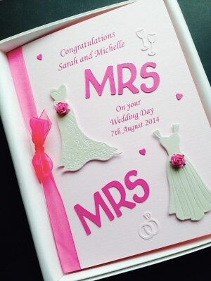 Same Sex WEDDING CARD for WOMEN Personalised names message colour Custom designs