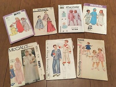 Vintage Childrens Sewing Patterns Lot Of 7