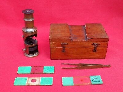 Sweet Little Antique Vintage Field / Travel Microscope In Box, Slides & Tweezers