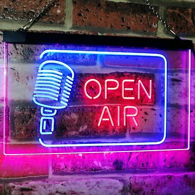Open Air Classic Microphone Recording Quiet Dual Color Led Neon Sign st6-i2799