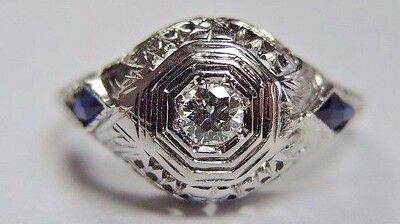 Antique Art Deco Diamond Engagement 20K White Gold Ring Size 5.75 UK-L EGL USA