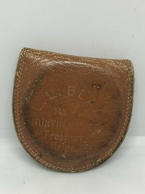 LL Bean Leather Pouch Hone Holder Freeport Maine Hunting Shoe Carborundum Hone