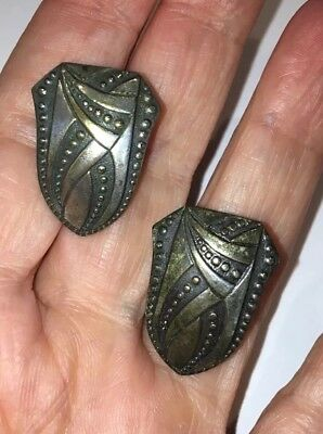 Antique Pair Of Silver Collar Tips-Very Old Patent Number