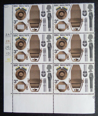 GB 1972 3p Broadcasting CYLINDER Block MNH - Scarcer 2C With Dot