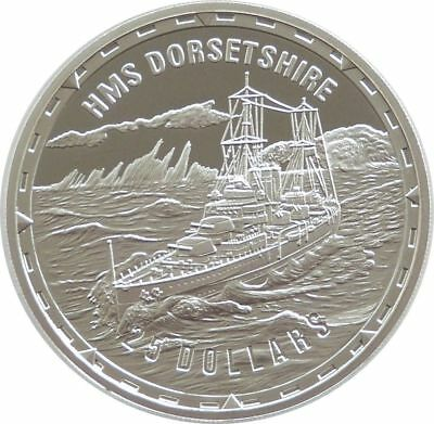 2005 Legendary Fighting Ships HMS Dorsetshire $25 Dollar Silver Proof 1oz Coin