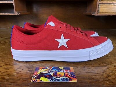 396336cc8041 Converse One Star Ox Mens Low Top Skateboard Shoes Red White 160595C Size 9