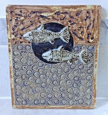 Large Studio Pottery Tile Relief - Fish signed