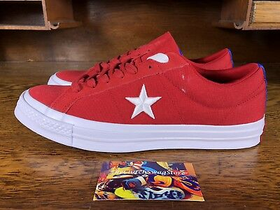 size 40 a7a0b 502a9 Converse One Star Ox Mens Low Top Skateboard Shoes RedWhite 160595C Size 11