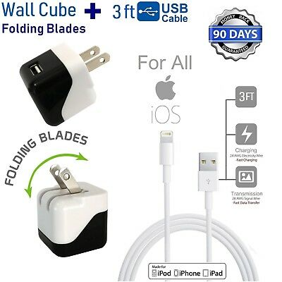 3ft Long 8 Pin USB Power Cord Cable + Wall Cube Charger for iPhone 5,6,7,SE [M4
