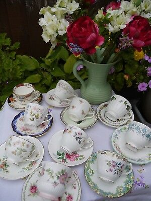 Job lot of 10 Pretty Vintage mis-matched Cups and Saucers Duo's set 5