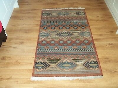 Fireside Rug 145 x 80 cm - Terracota and Blue Pattern - Used