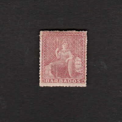 Barbados 1861 Fourpence Stamp, Believed To Be S.g. 25 Dull Rose Red Unused