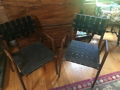 Mid Century Danish Modern Side Arm Chair Set of 2