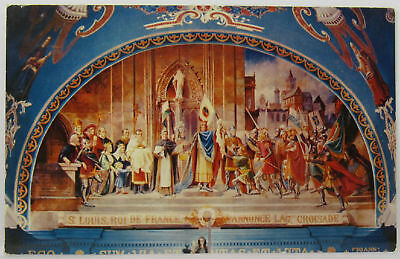 New Orleans Cathedral Altar Painting St. Louis Announcing Crusade Postcard -f266