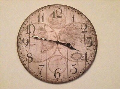 Large Antique Vintage Style Wall Clock. 60cm. Shabby Chic World Map Pattern.