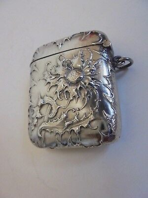 French Silver Art Nouveau Thistle Vesta Matchsafe