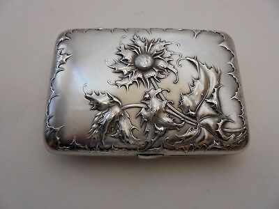 French Silver Art Nouveau Thistle Cigarette Case