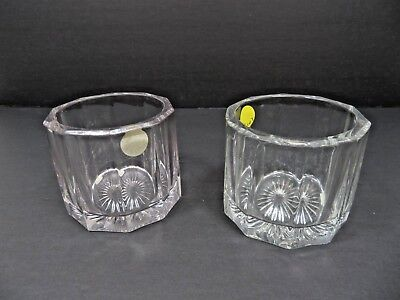 Vintage Mid Century Elegant Heisey pair of heavy glass marked H