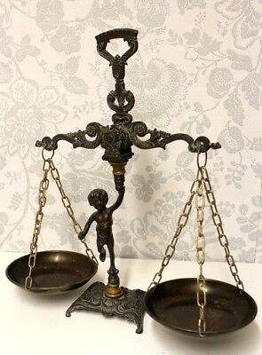 An Antique Vintage French hanging balance scales in brass and metal